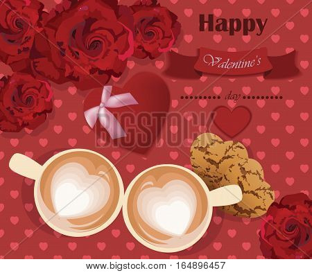 Romantic roses love two coffee cups on red hearts background. Valentines Day card