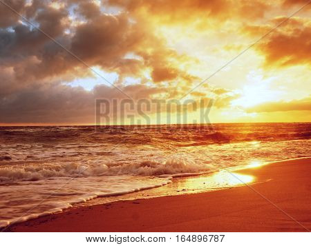 Beach Sand With Stones And Water Trails. Traces On Beach At Smooth Sea,