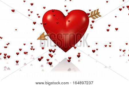 3D illustration of One Big and Red Heart with Golden Arrow and Lots of Tiny Hearts with a White Background