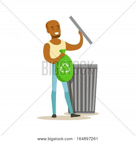 Man Throwing Waste In Recycling Bag , Contributing Into Environment Preservation By Using Eco-Friendly Ways Illustration. Part Of People And Ecology Series Of Vector Cartoon Drawings.