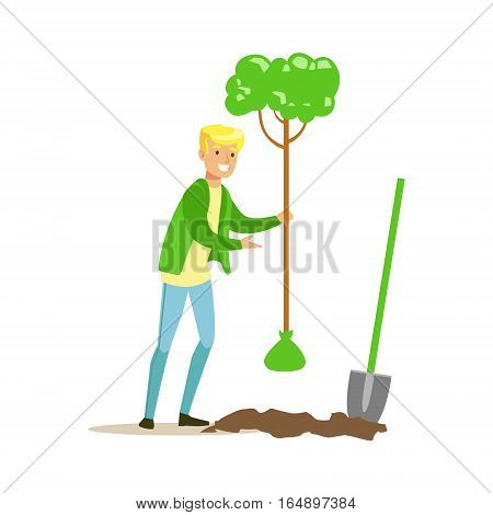 Man Planting A Tree , Contributing Into Environment Preservation By Using Eco-Friendly Ways Illustration. Part Of People And Ecology Series Of Vector Cartoon Drawings.