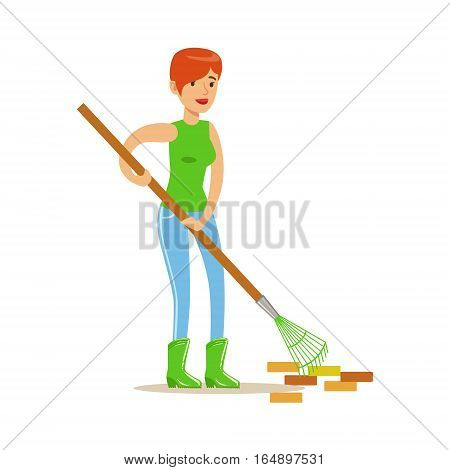 Woman Raking The Garbage During Clean Up, Contributing Into Environment Preservation By Using Eco-Friendly Ways Illustration. Part Of People And Ecology Series Of Vector Cartoon Drawings.