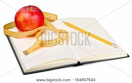 Notebook and pen with apple and measuring tape for writing dietary notes - isolated image