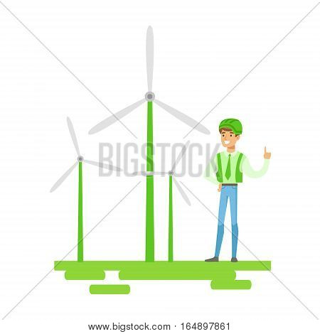 Man In Hard Hat Standing Next To Wind Power Turbines , Contributing Into Environment Preservation By Using Eco-Friendly Ways Illustration. Part Of People And Ecology Series Of Vector Cartoon Drawings.