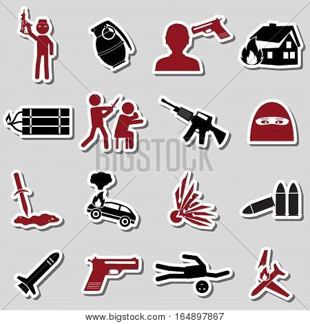 Terrorism Theme Set Of Red And Black Stickers Icons Eps10