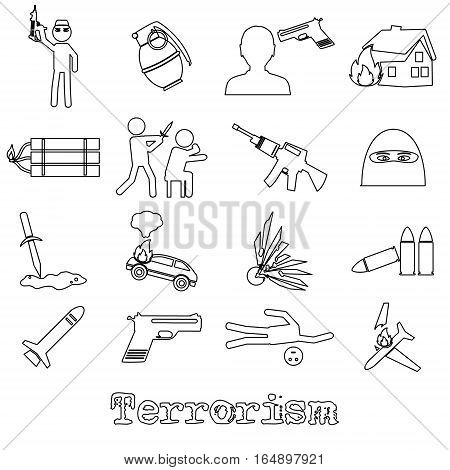 Terrorism Theme Set Of Simple Outline Icon Eps10