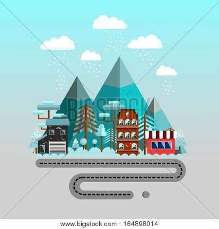 Road to the mountains.  Winter time flat landscape. Snowy Landscape Ski Resort. Vector Illustration.