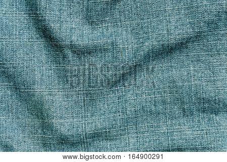 Cyan Color Denim Textile Cloth Surface.