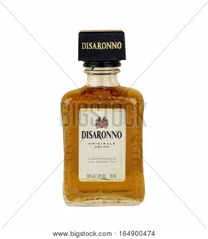 Spencer Wisconsin, January 12 2016 Bottle of Disaronno Liqueur Disaronno is made in Italy and has roots back to 1525