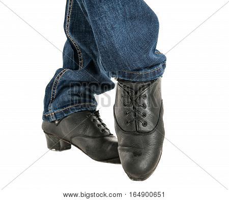 Irish Dancer Feet In Black Shoes Isolated