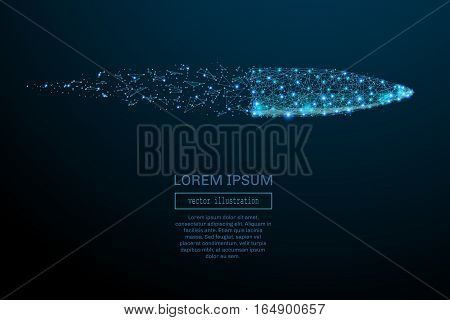 Abstract image of a bullet in the form of a starry sky or space, consisting of points, lines, and shapes in the form of planets, stars and the universe. Bullet vector wireframe concept.