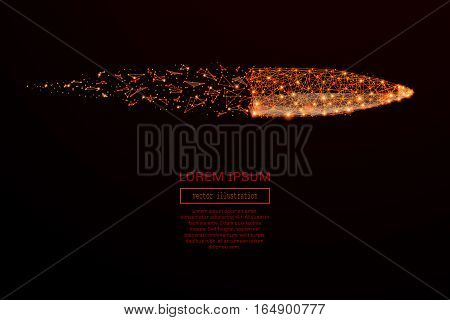 Abstract mash line and point bullet in flames style on dark background with an inscription. Business net speed of a starry sky or space, consisting of stars and the universe. Vector illustration