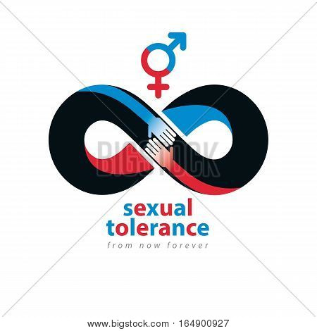 Sexual Tolerance Hetero And Homosexuals Conceptual Symbol, Zero Tolerance, Vector Symbol Created Wit