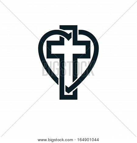 God Christian Love Conceptual Logo Design Combined With Christian Cross And Heart, Vector Creative S