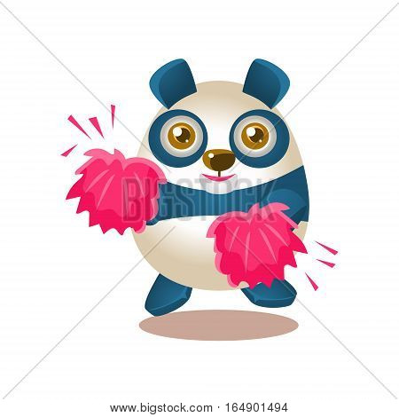 Cute Panda Activity Illustration With Humanized Cartoon Bear Character Cheerleading With Pink Pompoms. Funny Animal In Fantastic Situation Vector Emoji Drawing.