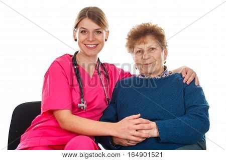 Picture of a happy old woman at the doctor's consult