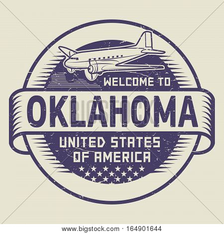 Grunge rubber stamp or tag with airplane and text Welcome to Oklahoma United States of America vector illustration