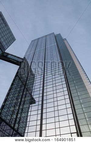 Gothia Tower in Gothenburg, Sweden. High building in glass and aluminum. Low view upp agains the sky. Gothenburg, Sweden 2016-11-22