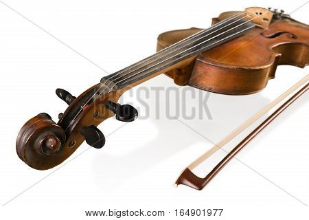 Top View of a Violin with Bow, Isolated
