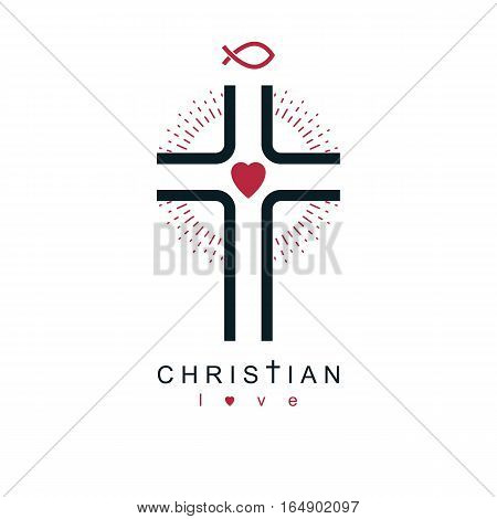 Christianity Cross True Belief In Jesus Vector Symbol, Christian Religion Icon.