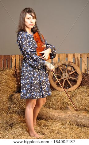 Beautiful girl with a violin in his hands in the hayloft