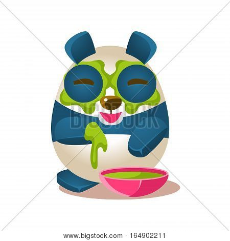 Cute Panda Activity Illustration With Humanized Cartoon Bear Character Doing Facial Mask Treatment. Funny Animal In Fantastic Situation Vector Emoji Drawing.