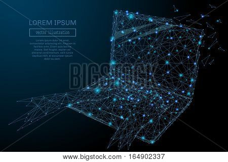 3D laptop Blue Abstract Mesh Background with Circles, Lines and Shapes . Design computer Layout for Your Business. Vector starry sky concept.