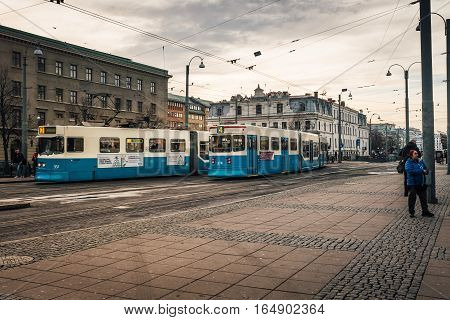 Trams running in Gothenburg Sweden In beautiful afternoon sunlight Gothenburg, Sweden 2016-11-22