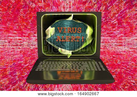 Computer virus alert, conceptual image. 3D illustration showing bursting of laptop screen and virus alert words