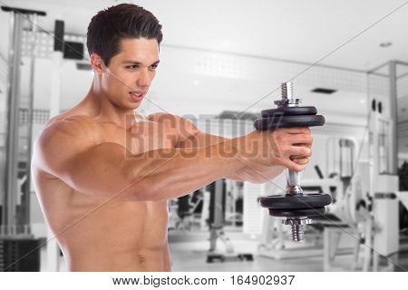 Bodybuilder Bodybuilding Muscles Shoulder Shoulders Gym Training Strong Power Muscular Man Dumbbell