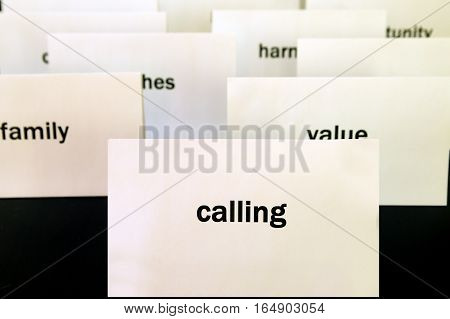 Word Calling On A White Paper Card. Priorities And Values Concept