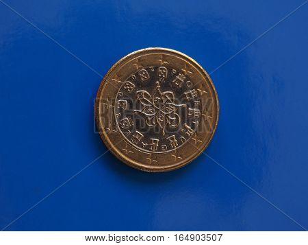 1 Euro Coin, European Union, Portugal Over Blue
