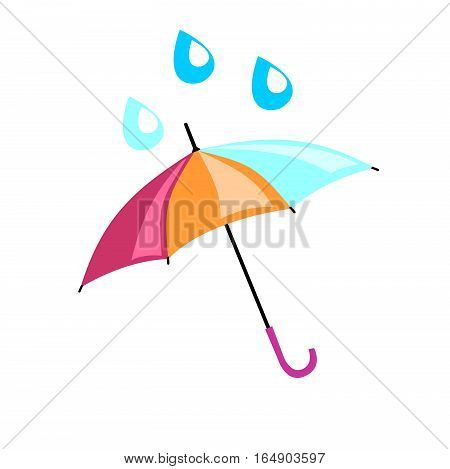 Multicolored umbrella on which drip a drop. Beautiful accessory from rain for adults and children.