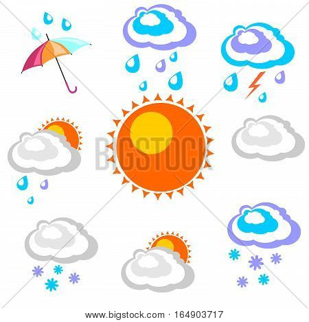Weather forecast. Beautiful and simple graphics on precipitation and temperature in different seasons in the daytime on a white background.