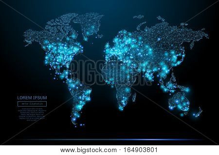Abstract image of a world map in the form of a starry sky or space, consisting of points, lines, and shapes in the form of planets, stars and the universe. World vector wireframe concept.