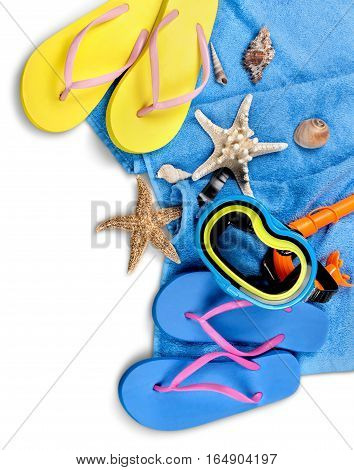 Flip-Flops, Towel, Sun Cream, Diving Mask and Seashells