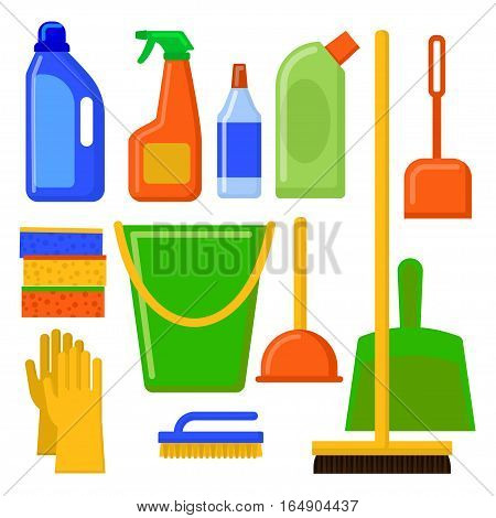 House cleaning tools. Cleaning elements. Home Appliances Icons Set. Vector set of cleaning tools. Illustration in flat style.