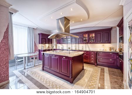 Russia,Moscow region -kitchen interior in new luxury country house