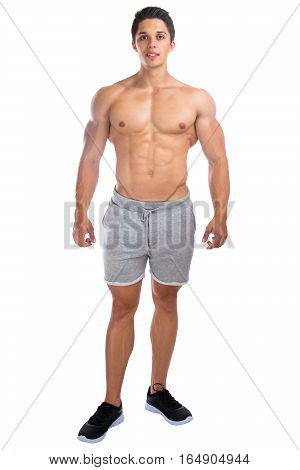 Bodybuilder Bodybuilding Muscles Standing Whole Body Portrait Muscular Man Isolated