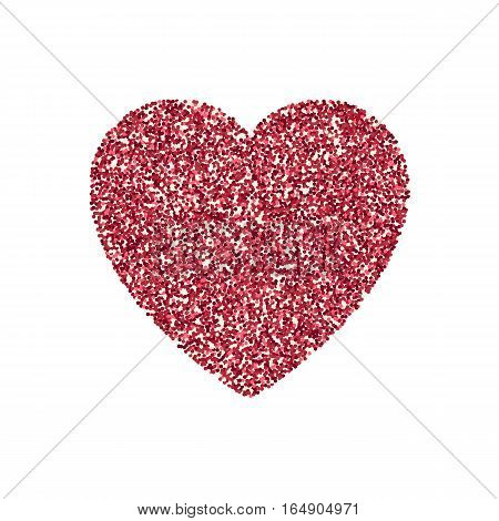 Valentines Day heart isolated Festive decorations bright glitter placer. Holiday love decor illustration. Beautiful design element