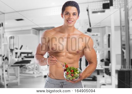Eating Food Salad Bodybuilding Bodybuilder Gym Body Builder Building Muscles Muscular Young Man