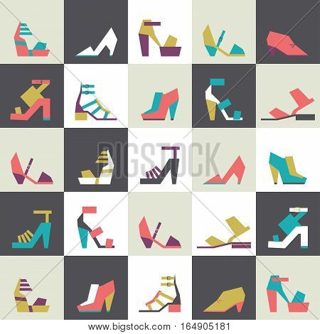 Seamless vector illustration with beautiful heels and shoes pattern with geometric shapes. Bright colors on beige background with squares. Pink purple blue and green shoes in geometric style.