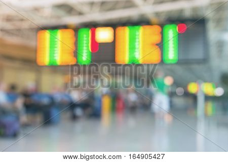 Blurred picture of airport departure and arrival board