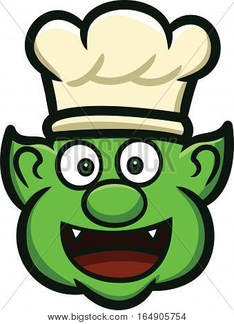 Orc Chef Head Cartoon Character Isolated on White