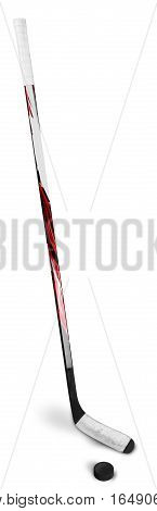 Ice Hockey Stick and Puck, Isolated on Transparent Background