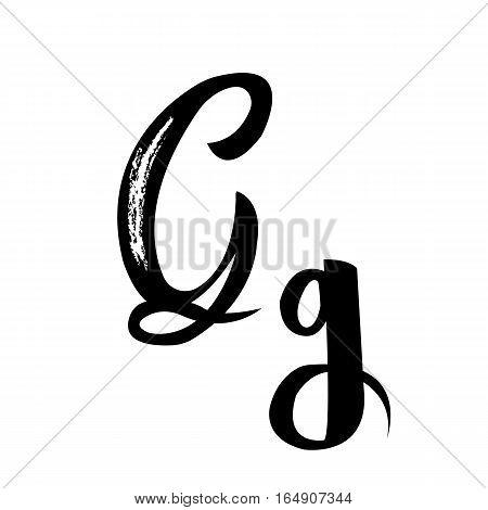 Alphabet letters G manuscript calligraphy vector art