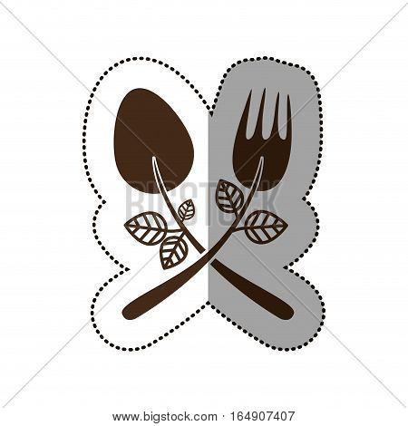 Spoon and fork icon. Cutlery dishware tool and utensil theme. Isolated design. Vector illustration