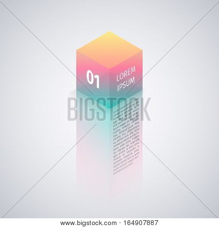 Isometric colorful abstract cube on gray background for infographics. Clipping paths included in JPG file.