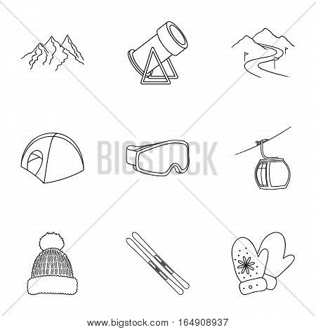 Ski resort set icons in outline style. Big collection of ski resort vector symbol stock