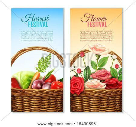 Traditional round wicker baskets with vegetables and roses 2 vertical festival colorful backgrounds banners set isolated vector illustrations